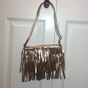 Justice Fringe Rose Gold purse